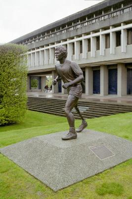 Statue of Terry Fox in the Academic Quadrangle gardens