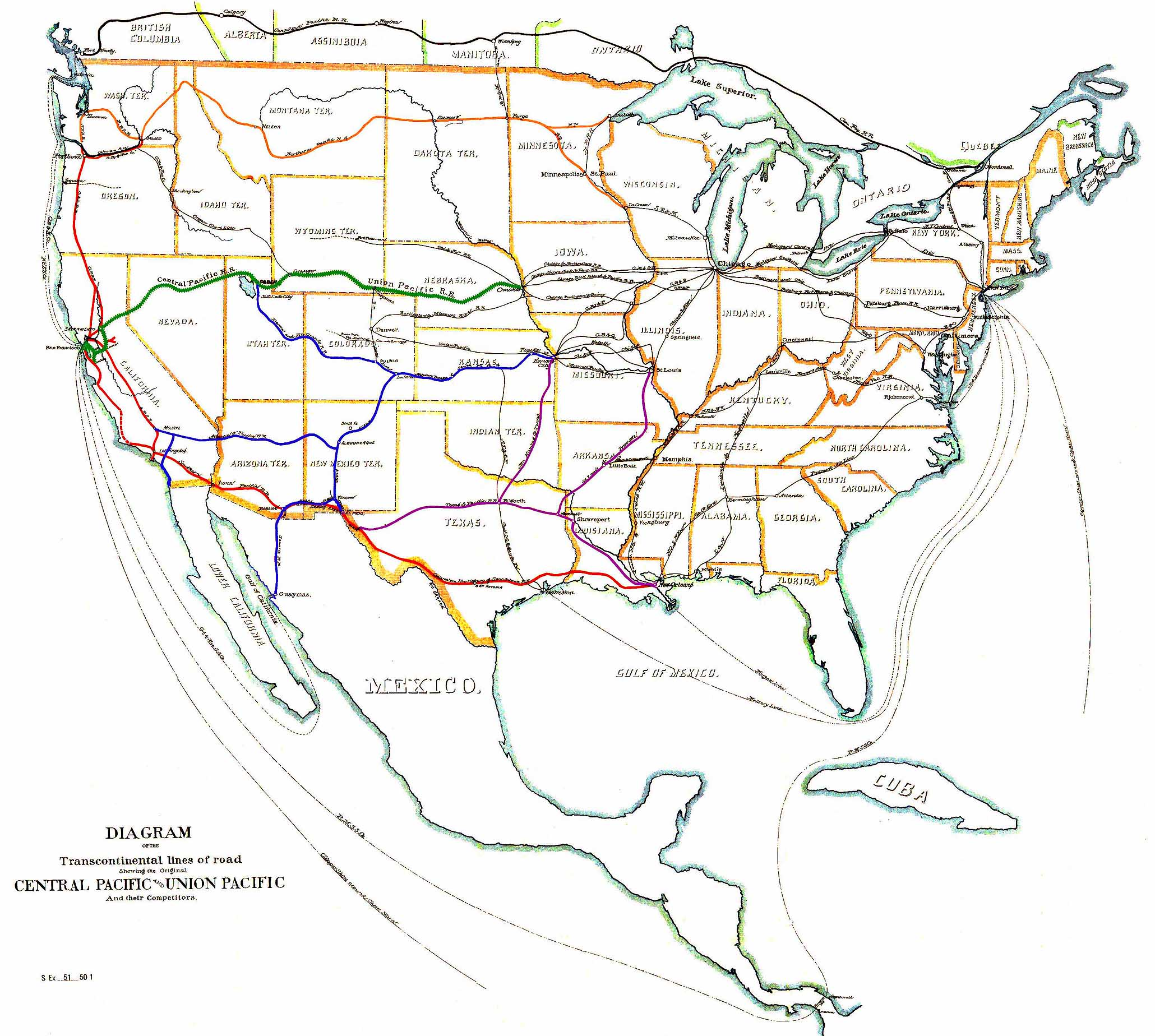 FileUS Transcontinental Railroads 1887jpg Wikimedia Commons