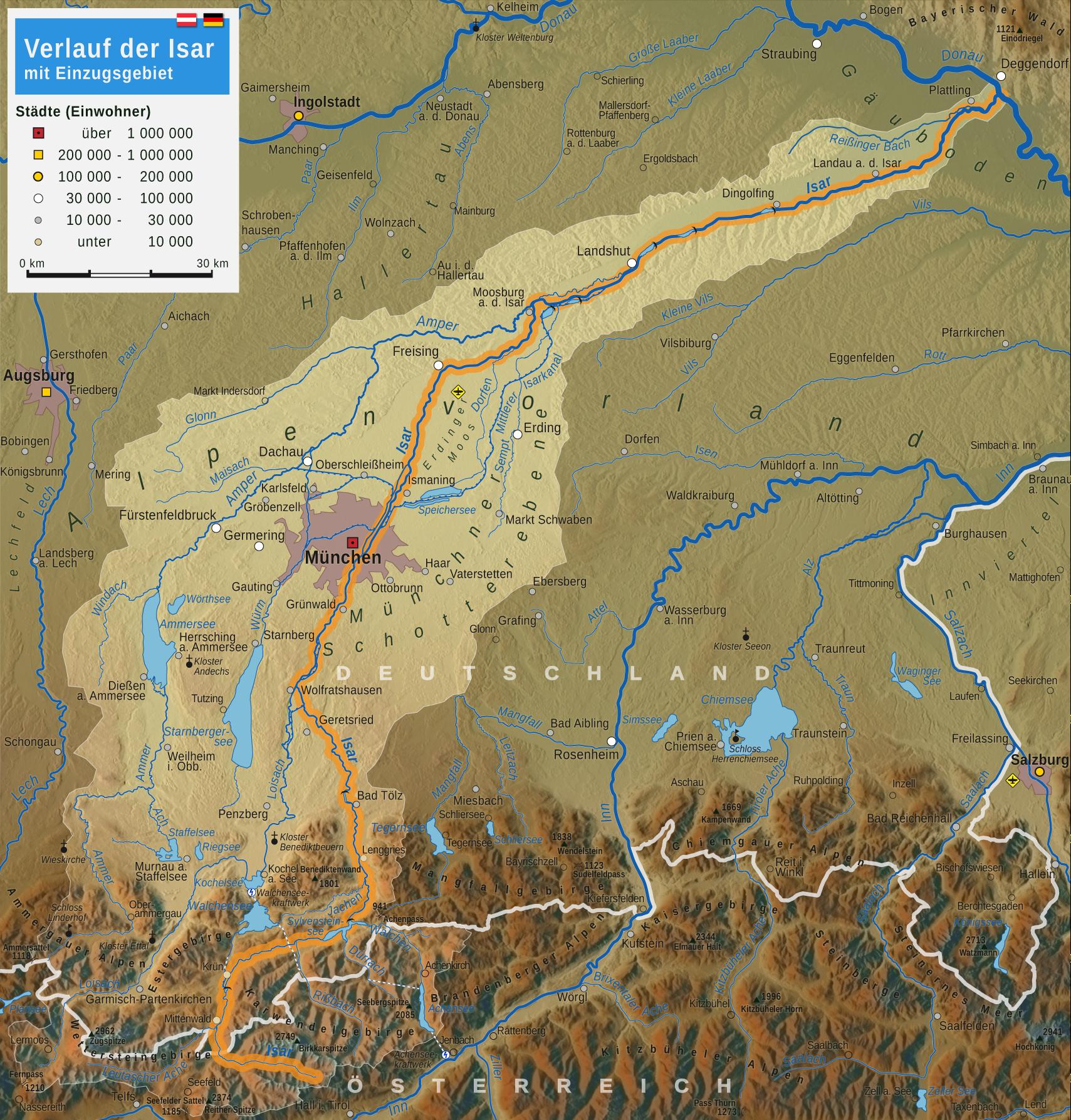 Isar Fluss Karte.Isar Wikipedia