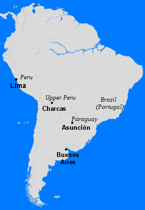 Notable cities in the Viceroyalty of Peru during the revolt, which centered in Asuncion. Viceroyalty Peru 1721 comuneros.png