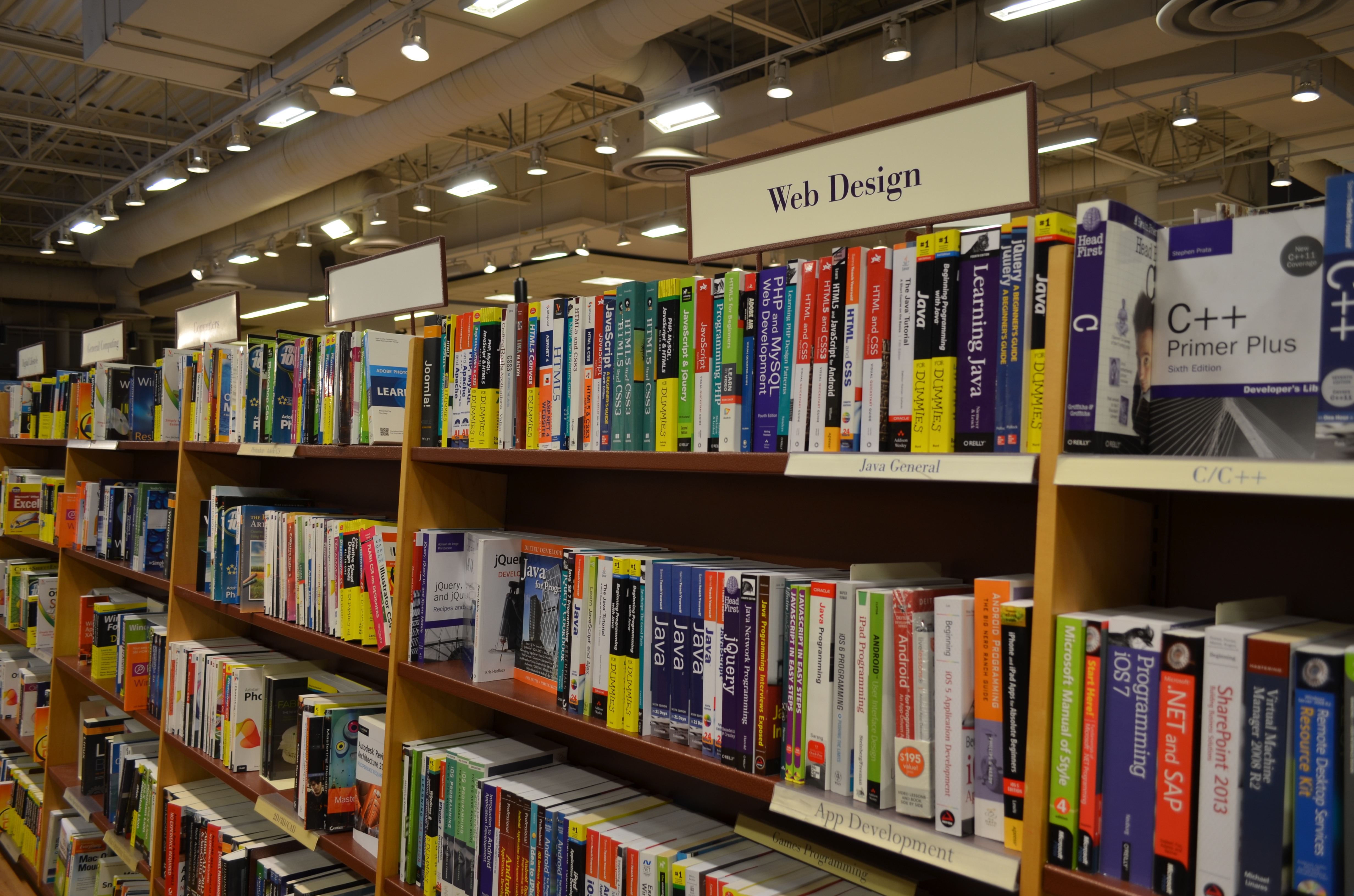 Website Design Books in a library