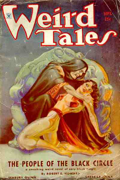 Magazine cover showing a hooded man menacing a terrified woman