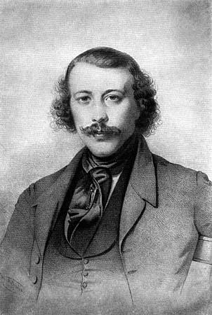 Бакунин в 1843 году. Портрет Генриха Детлефа Митрейтера