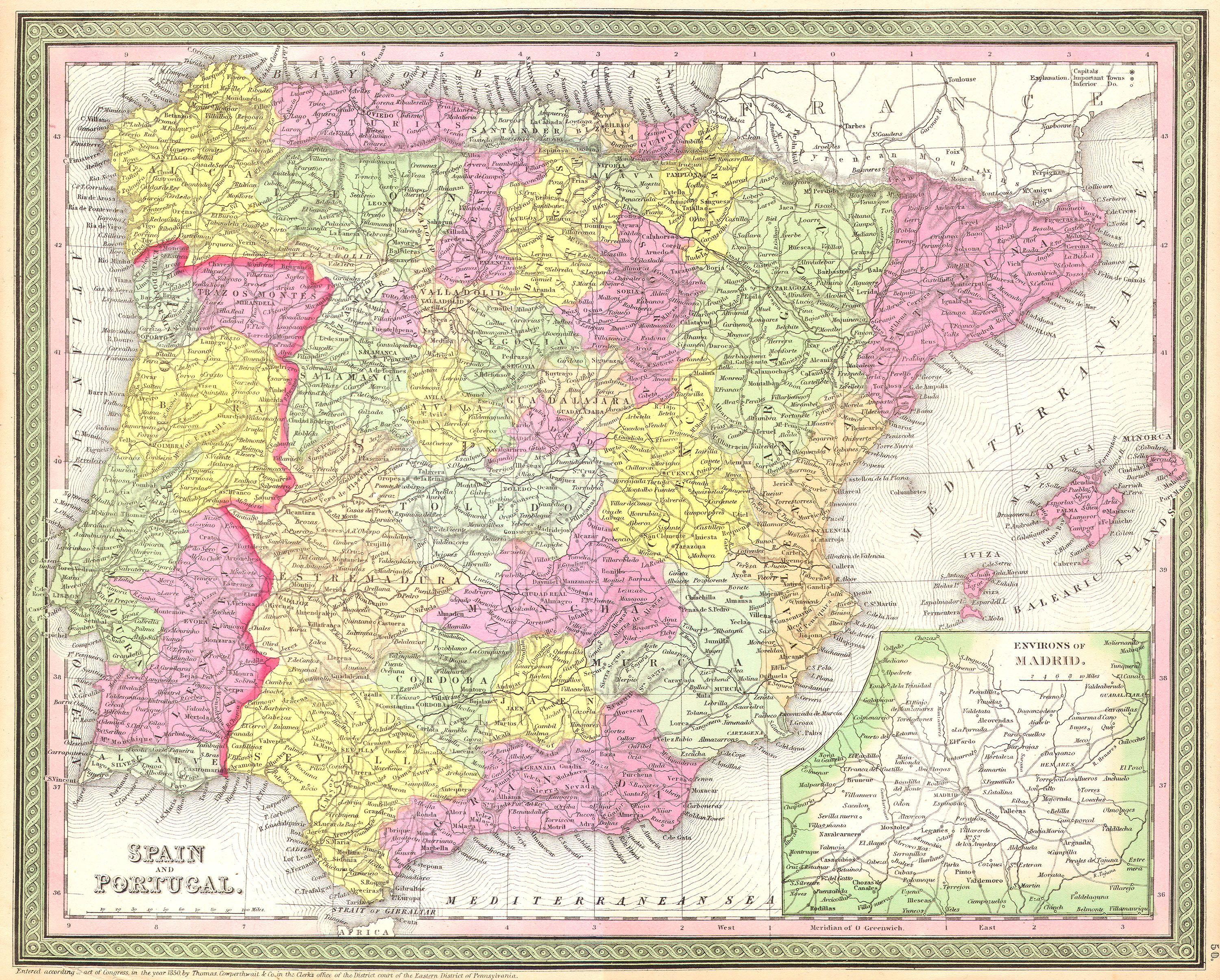 Map Of Spain Jpg.File 1850 Mitchell Map Of Spain And Portugal Geographicus Spain