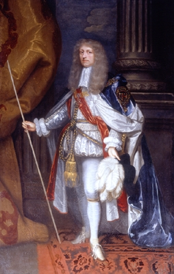 The Duke of Ormond as Knight of the Garter, wearing the mantle, with its cordon and tassels, and the collar. The hat with its white ostrich feathers is in his left hand. Painted by John Michael Wright (c. 1680).