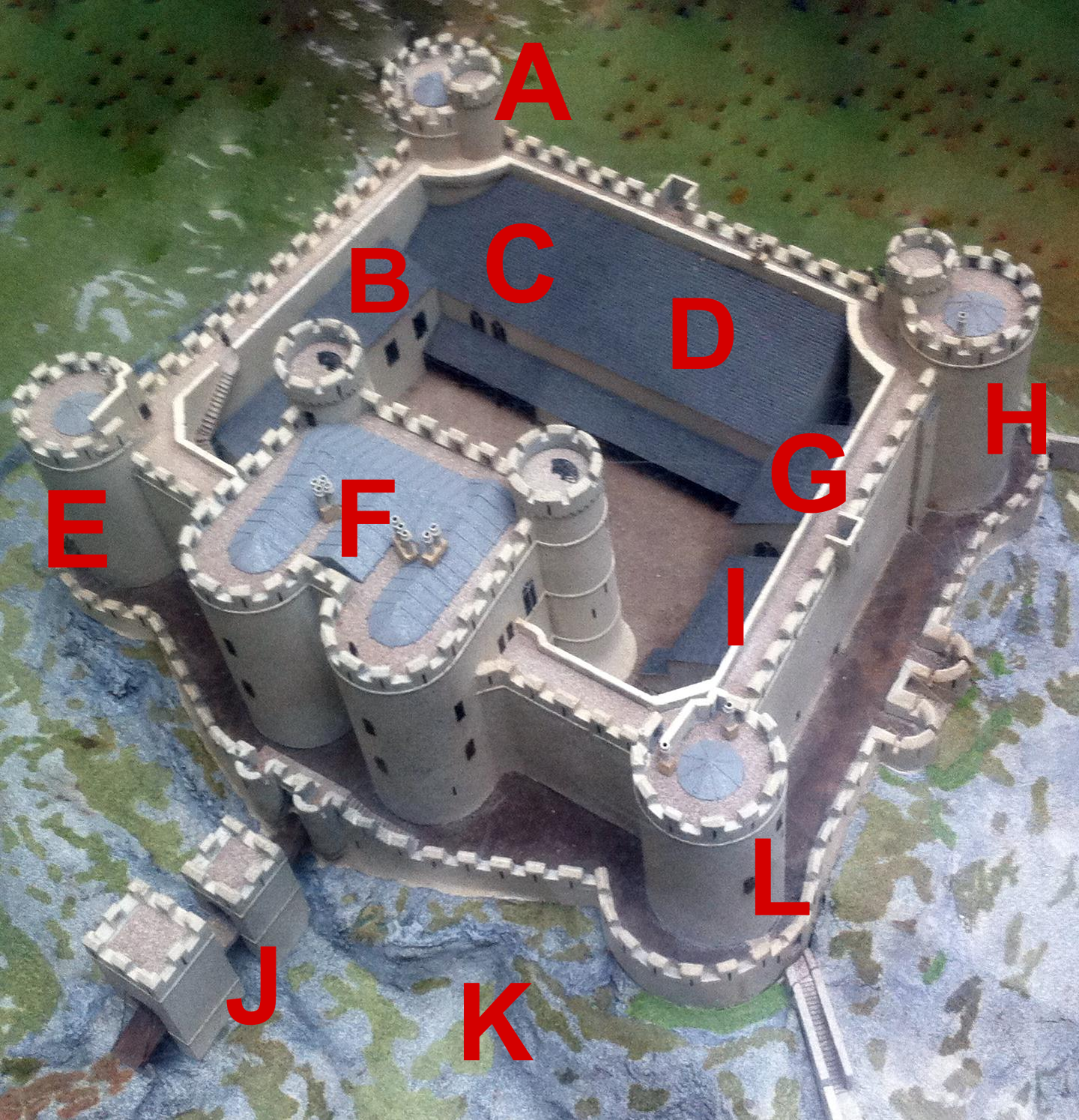 file aerial diagram of harlech castle png wikimedia commons