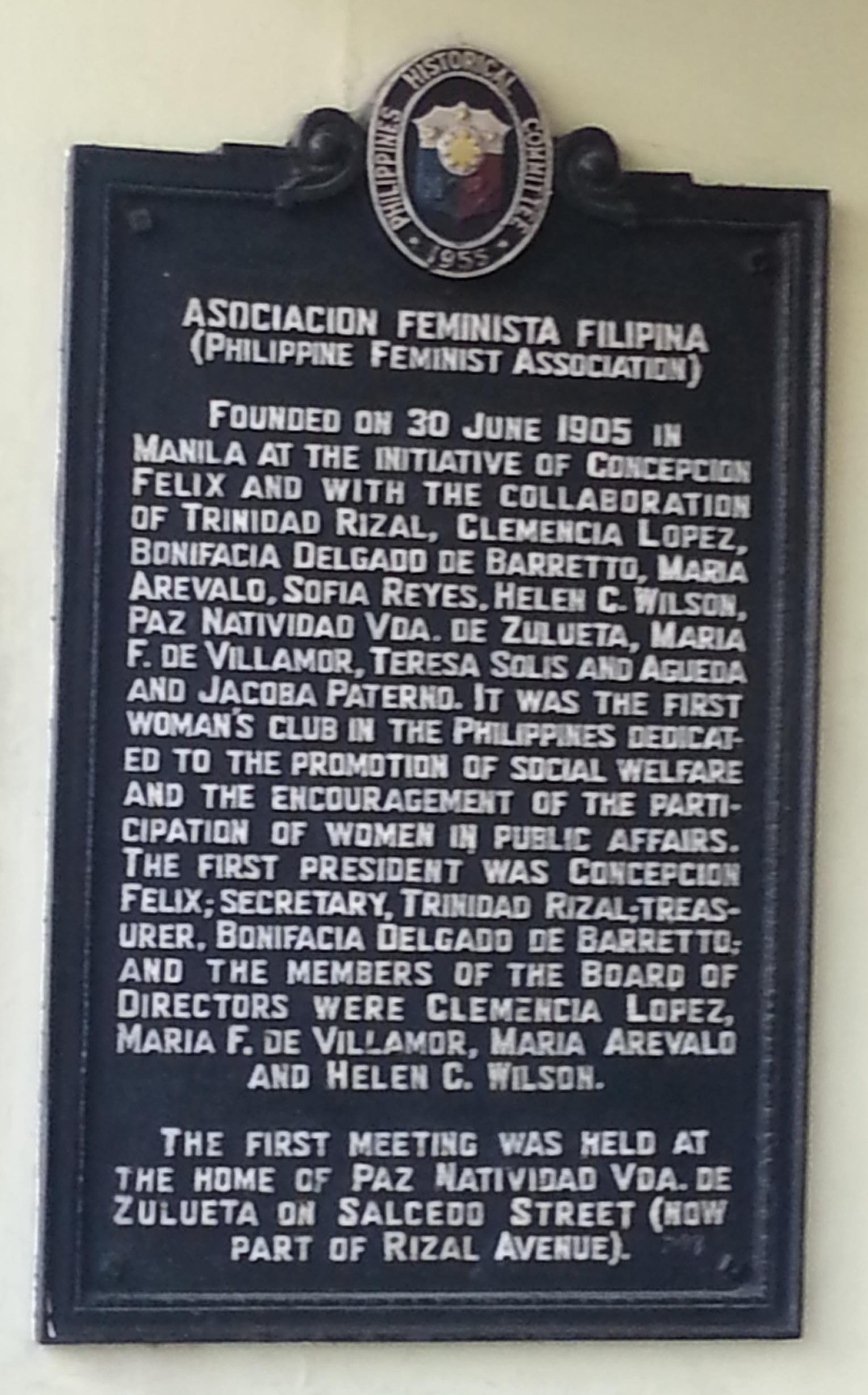 Image result for Asociacion Feminista Filipina