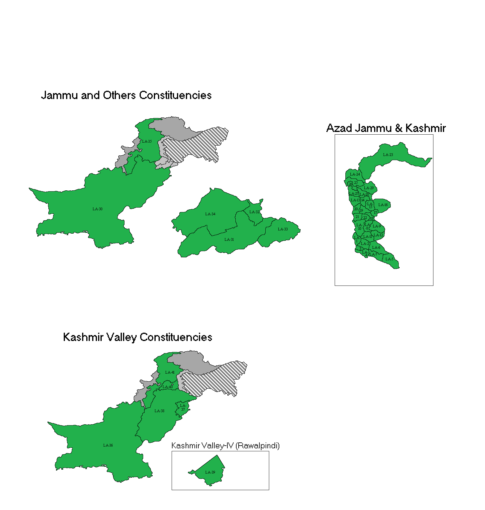 Map of Azad Kashmir showing Assembly Constituencies