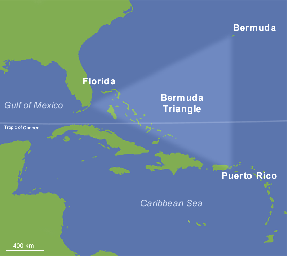 Classic borders of the Bermuda Triangle