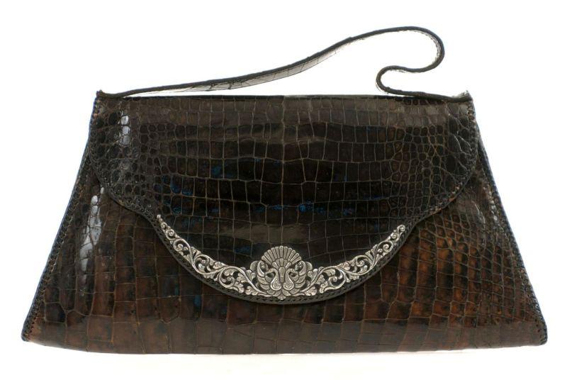 Kalfsleren Portemonnee.File Collectie Tropenmuseum Krokodillenleren Tas Met Zilveren