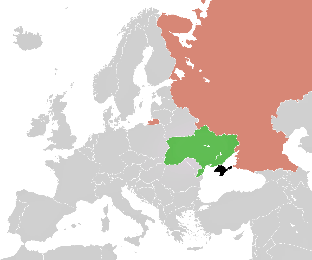 Map of the 2014 Crimean Crisis. The Crimean Peninsula is shown in black. Outside of the disputed territory are Ukraine in green and Russia in a red-like hue. (Credit: ImageUploader12345)
