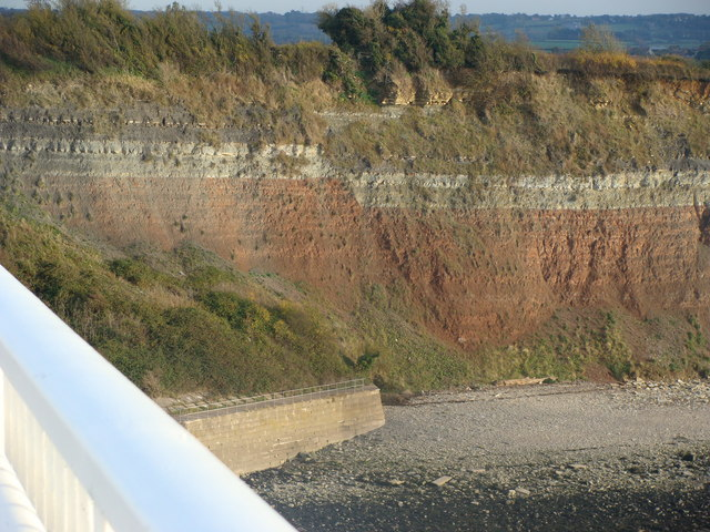 Fault in Aust Cliff from the Severn Bridge - geograph.org.uk - 1557429