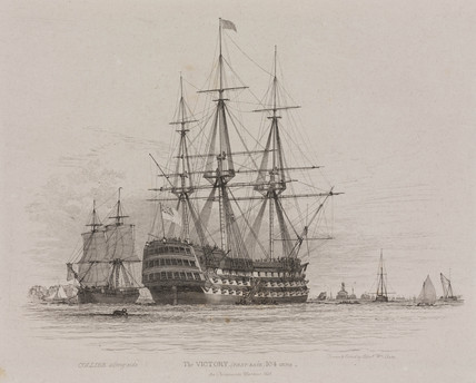 HMS Victory in Portsmouth Harbour with a coal ship alongside, 1828. Etching by Edward William Cooke based on his own drawing. HMS Victory in Portsmouth Harbour with a coal ship alongside, 1828.jpg