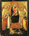Virgin and child with four angels and four saints