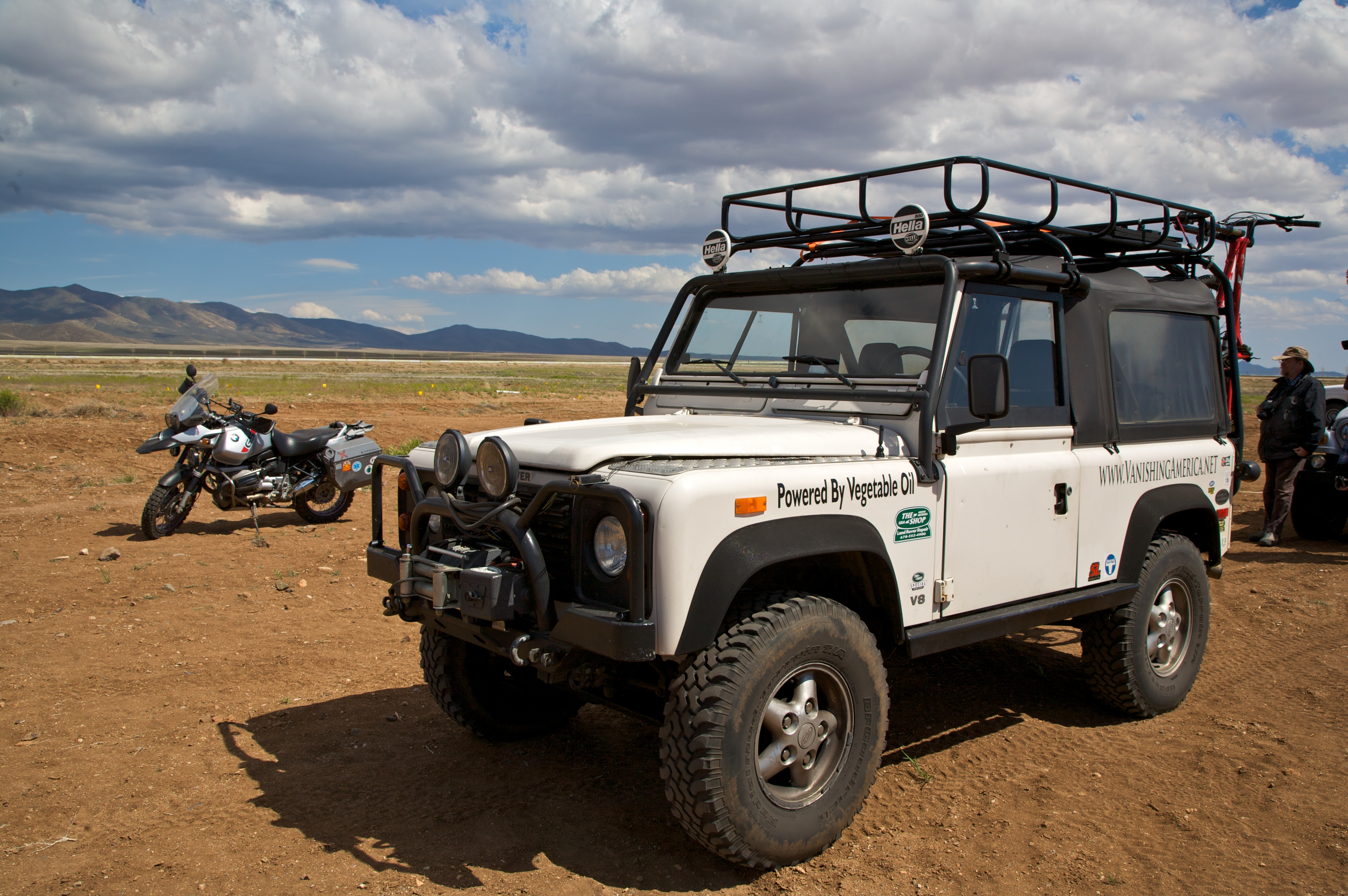 Bmw Of Denver >> File:Lad Rover Defender and BMW R1150GS.jpg - Wikimedia Commons