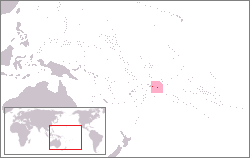 Map showing the location of National Park of American Samoa