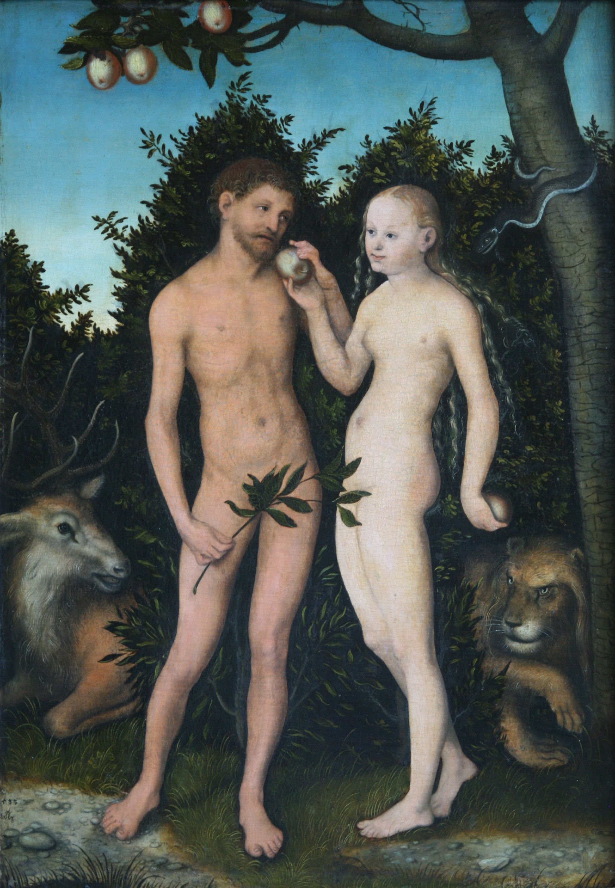 Adam and eve in garden of eden studying genesis chapter 2