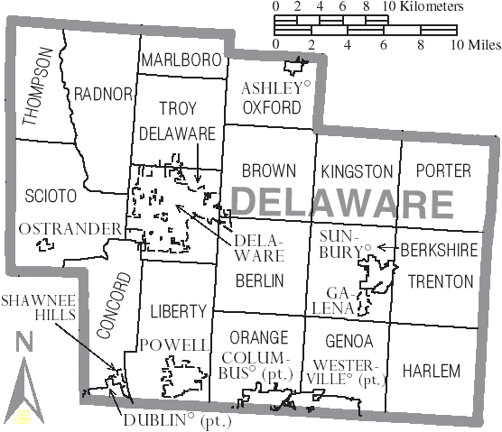 File Map Of Delaware County Ohio With Municipal And Township Labels