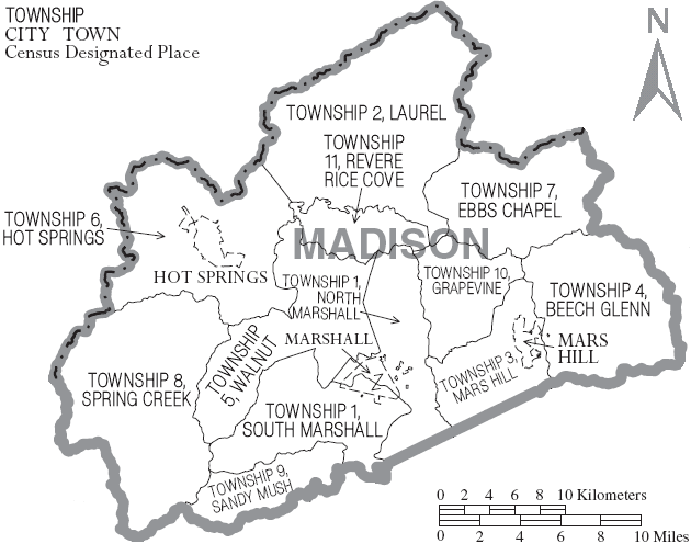 Archivo:Map of Madison County North Carolina With Municipal and Township Labels.PNG