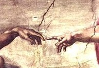 From commons.wikimedia.org/wiki/File:Michelangelo_Touching_Hands.jpg: Michelangelo Touching Hands