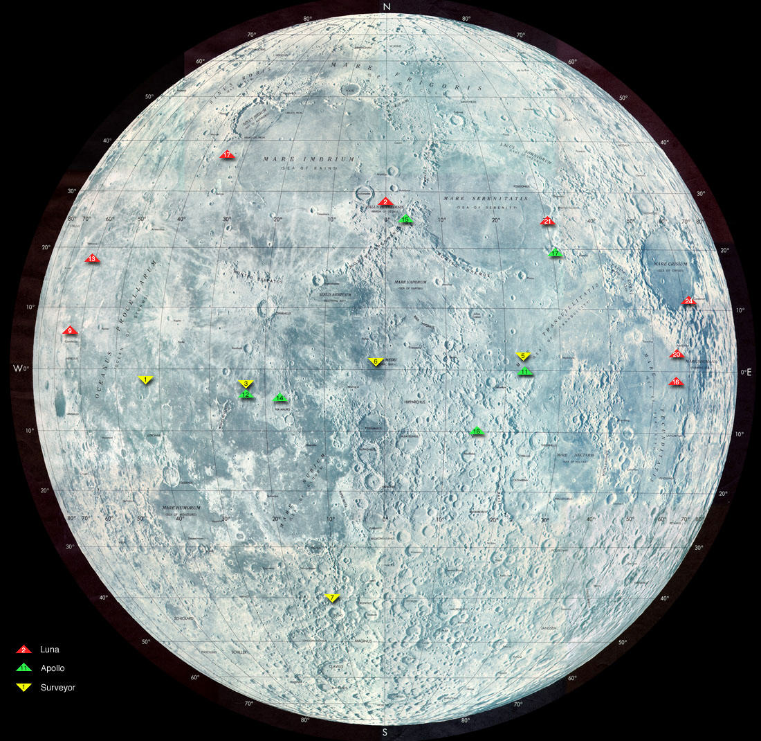 map of moon landings - photo #1