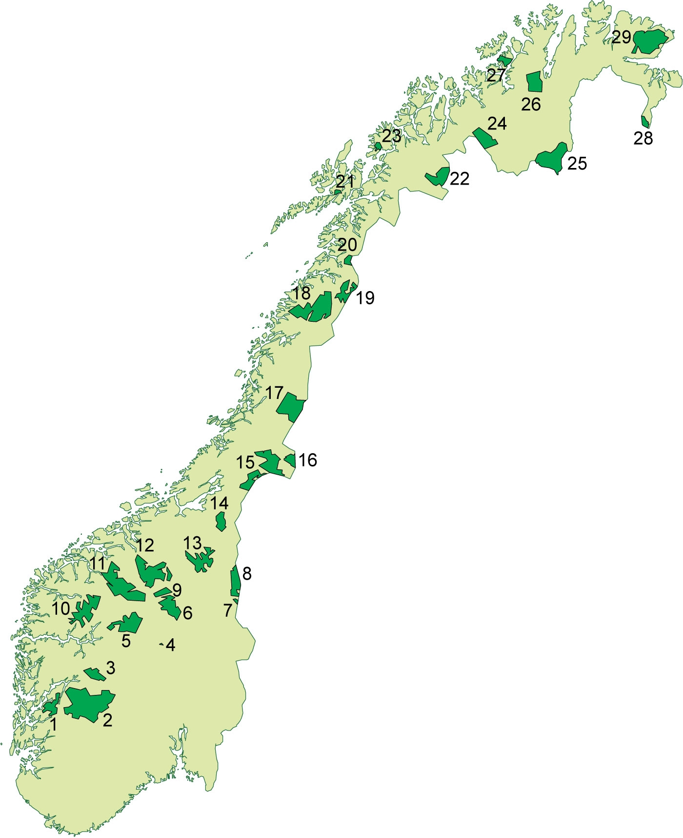 kart over nasjonalparker i norge Fil:Nasjonalparker Norge. – Wikipedia