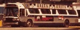 A bus in New York featuring an Evita advertisement in 1982.