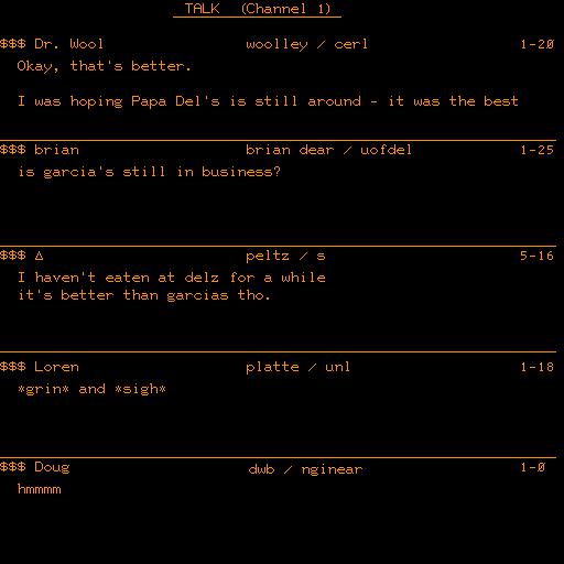 2014recreationscreenshotoftheoriginalalkomaticprogram,releasedin1973,onthesystemonanorangeplasmadisplay.