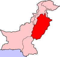 Location of Punjab (Pakistan)