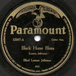 "Paramount Records label, 1926, ""Black Horse Blues"" by Blind Lemon Jefferson"