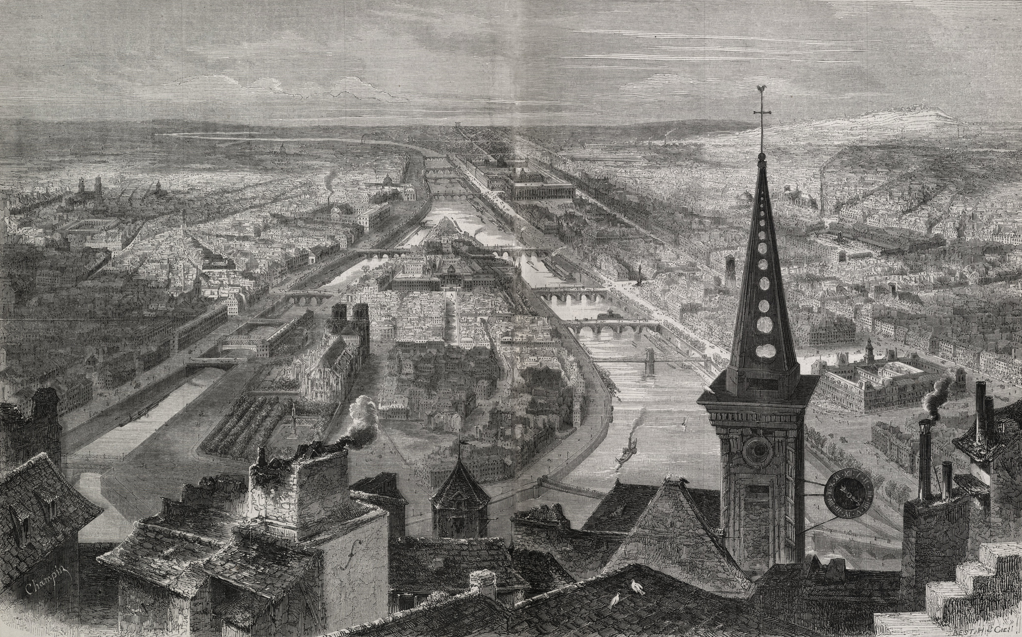 File:Paris à vol d'oiseau, Illustration, 1852.jpg