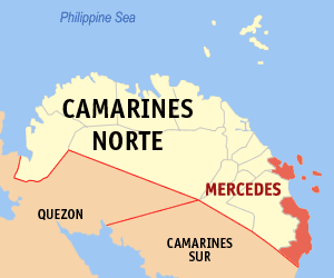Map of Camarines Norte showing the location of Mercedes