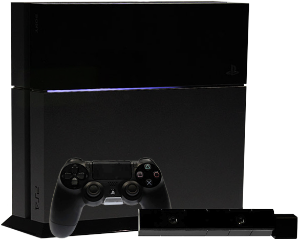 PlayStation 4 console with DualShock 4 controller via Wikipedia