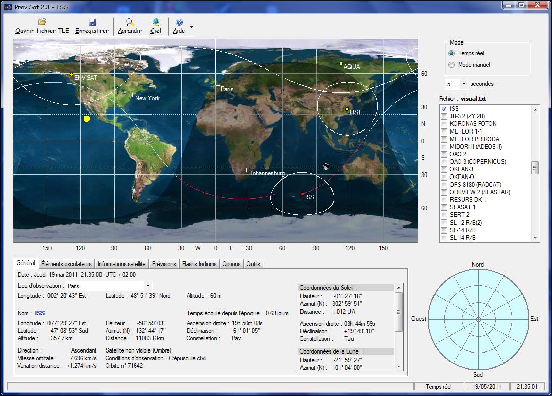 Previsat Freeware Screenshot A Satellite Tracking