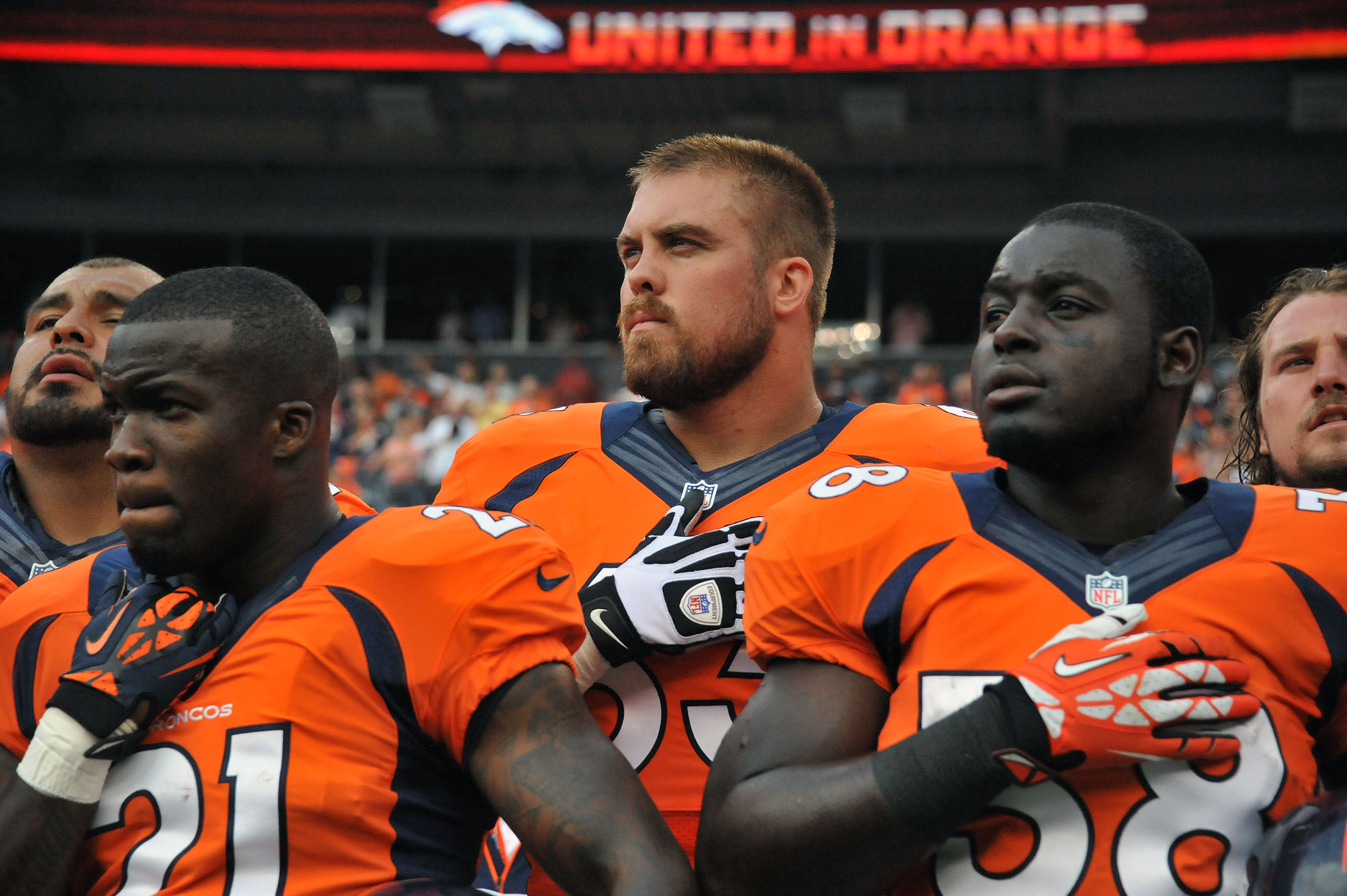 File:Ronnie Hillman, Ben Garland and Montee Ball listen to ...