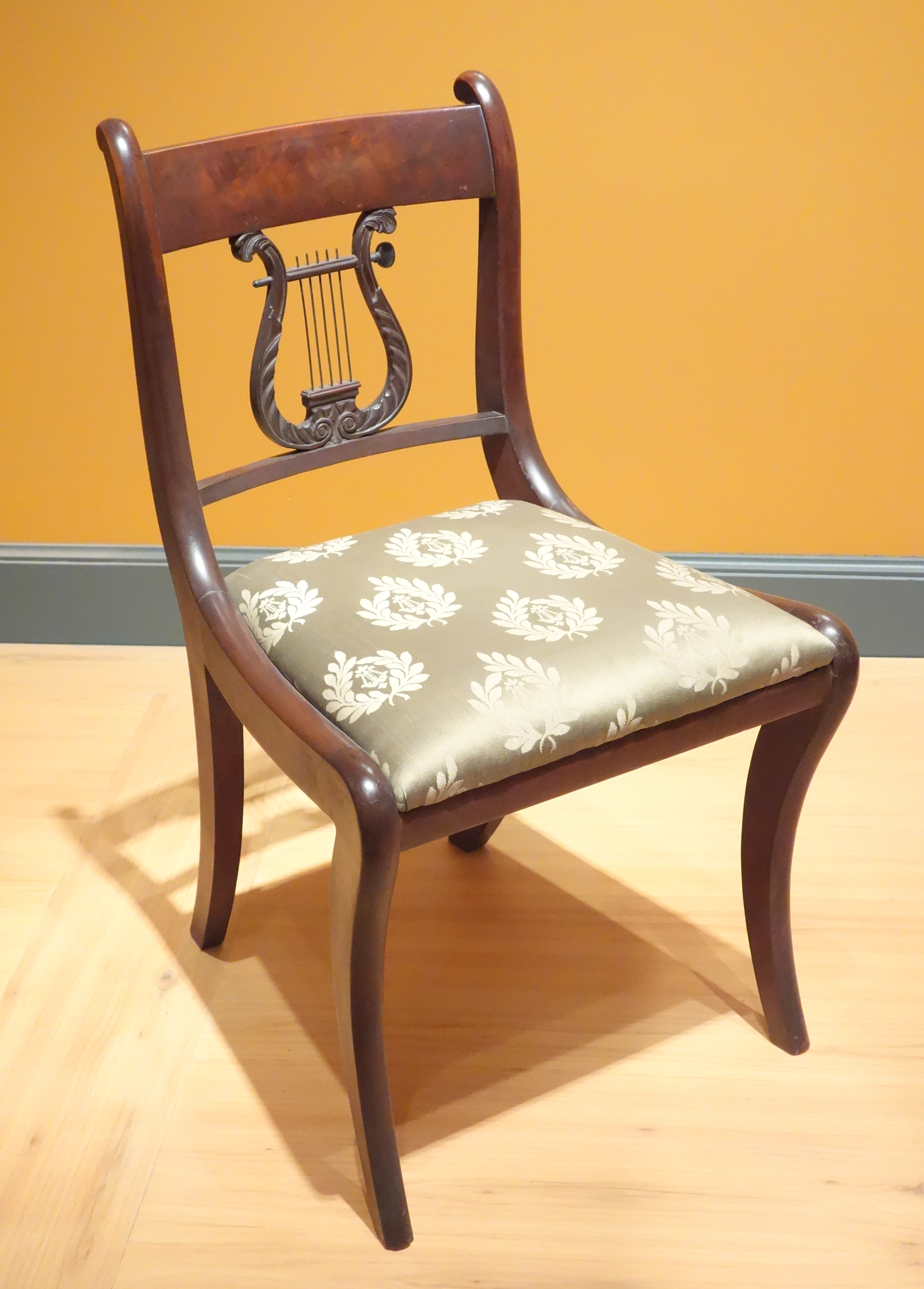 Side Chair Copy Of Duncan Phyfe By Henry Hagen And Frederick New York C 1926 Mahogany Metal Modern Upholstery Brooklyn Museum Dsc09659 Jpg