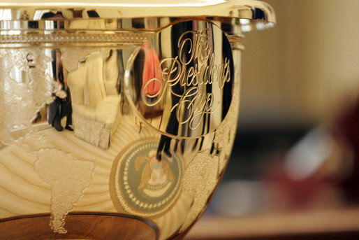 The Presidents Cup golf trophy