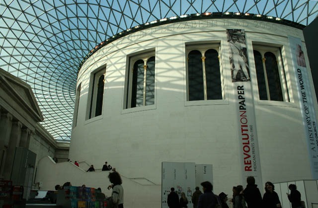 Museum Occupying the centre of the Great Court,  . the Reading Room of the British Museum has a real contemporary appearance underneath Norman Foster's magnificent