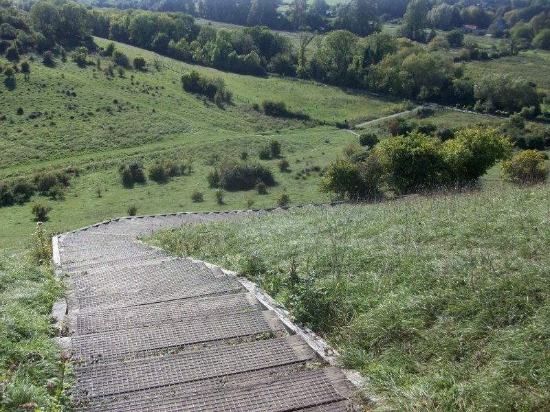 The steps up the south slope of St Catherine's Hill, Winchester, Hampshire