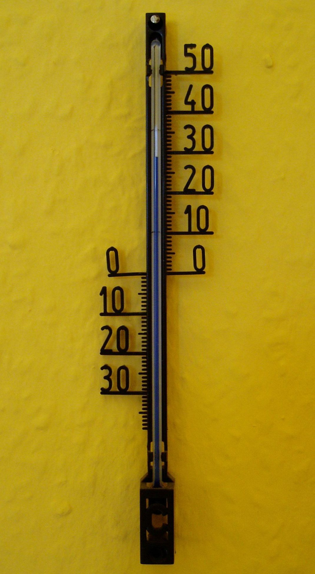 A wall thermometer