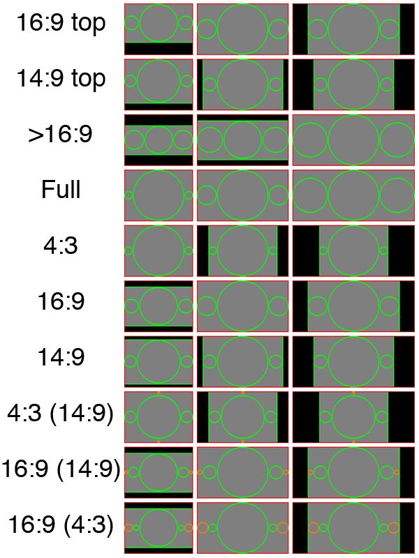 Зелёные окружности соответствуют обязательному контенту, оранжевые — несущественной области. Чёрные области соответствуют каше. Красная линия соответствует полному кадру