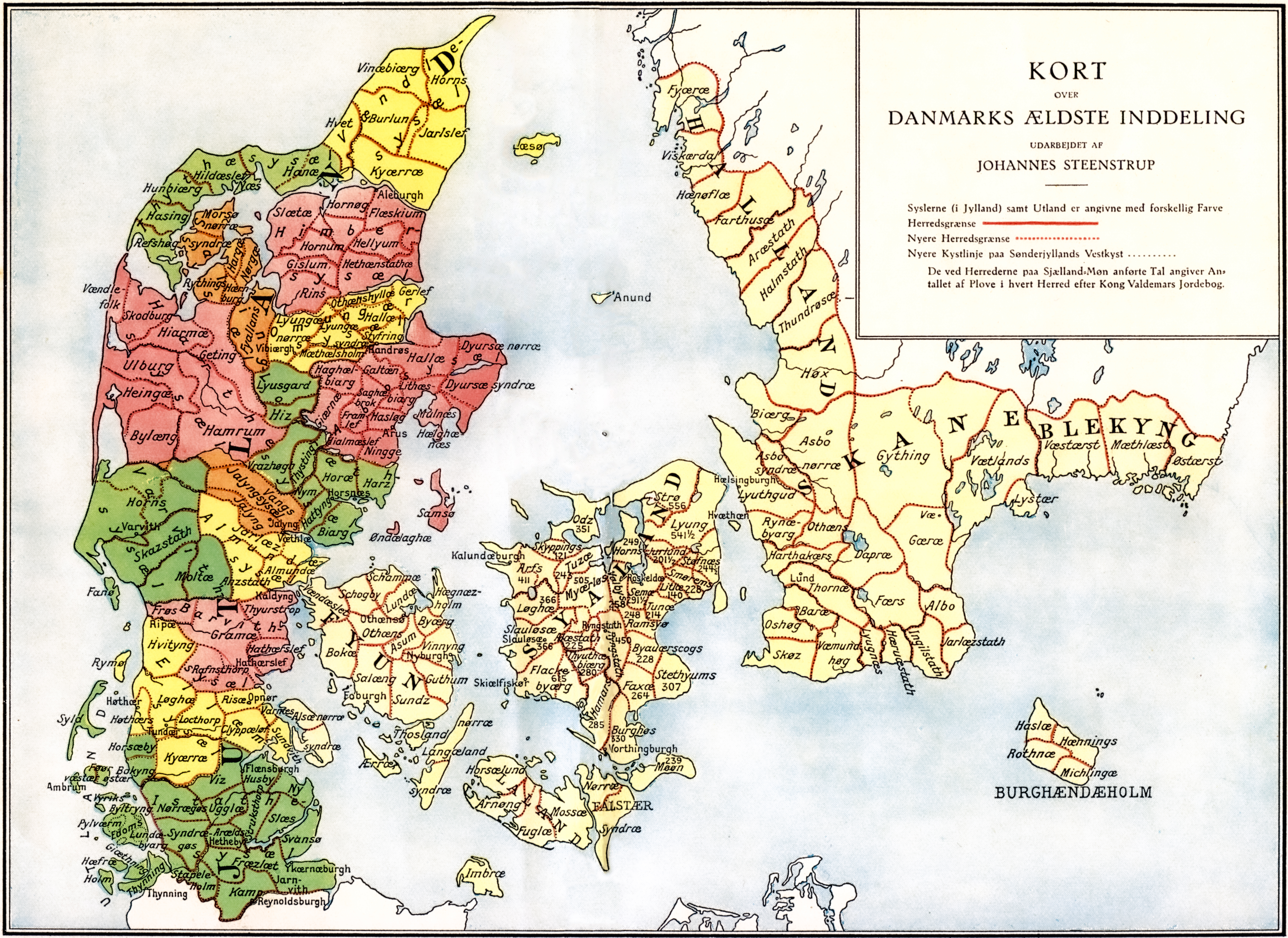 Map of medieval Denmark, showing herreder and sysler. The entire country was divided into herreder, shown outlined in red. Coloured areas show Jutland's syssel divisions. Zealand's four ecclesiastic sysler are not included.