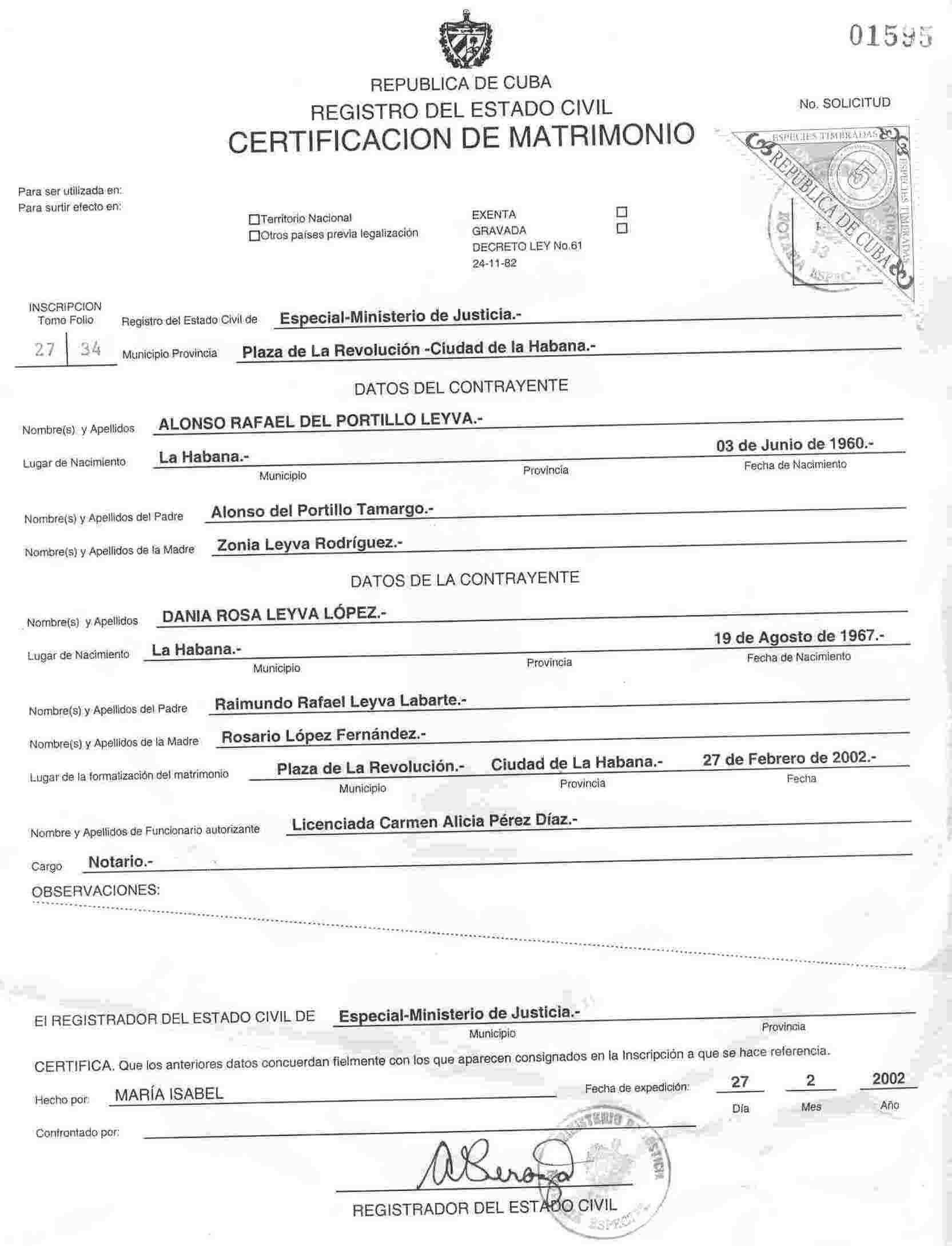 file alonso r del portillo y leyva cuban marriage certificate jpg