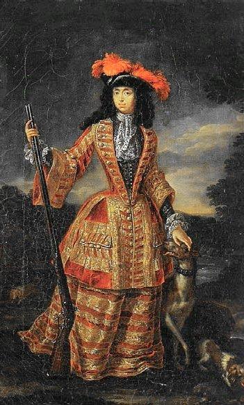 Anna Maria Luisa de Medici, ranskalaistyylisessä asussaan noin 1690.