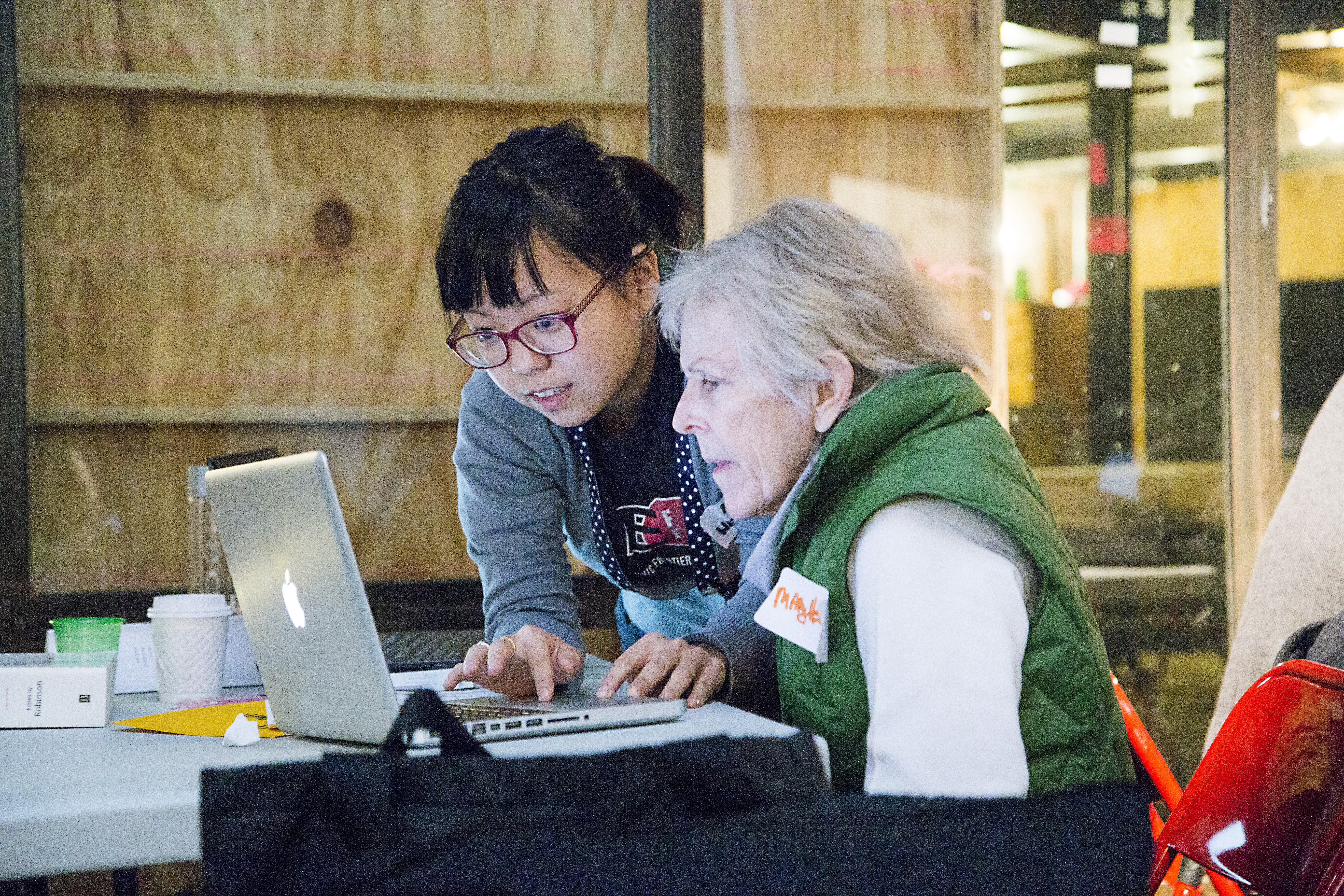 Intergenerational support at 2014 Art+Feminism Wikipedia Edit-a-thon at Eyebeam in New York City