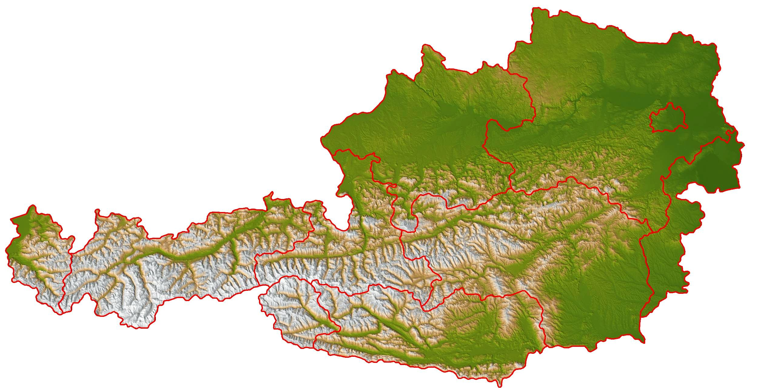 Shaded relief location map of austria