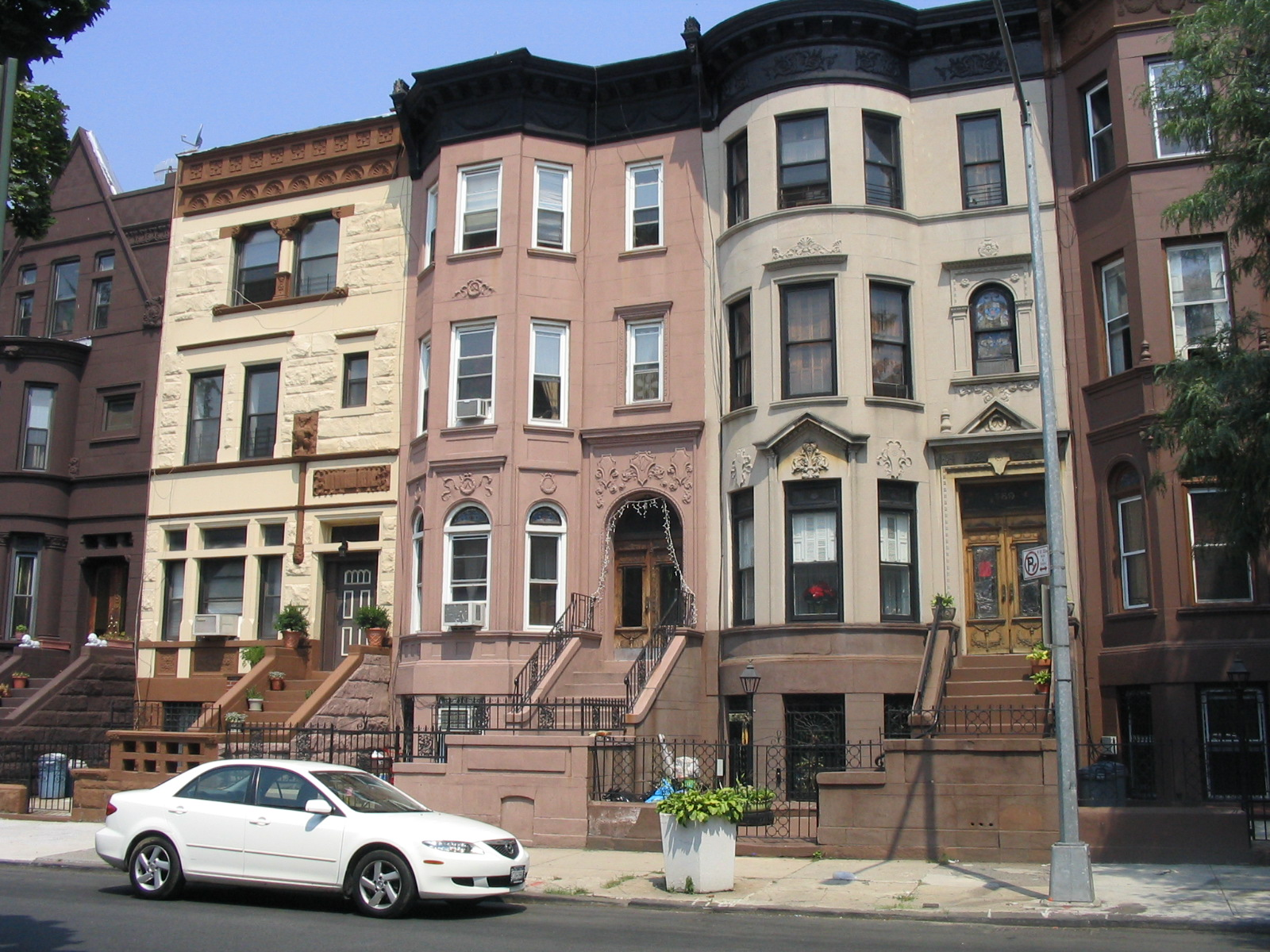 Painted brownstone rowhouses in Bedford-Stuyvesant, Brooklyn, New York