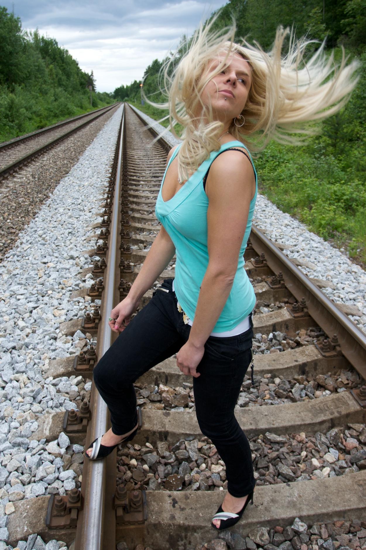 fileblond woman on rail tracks 02jpg wikimedia commons