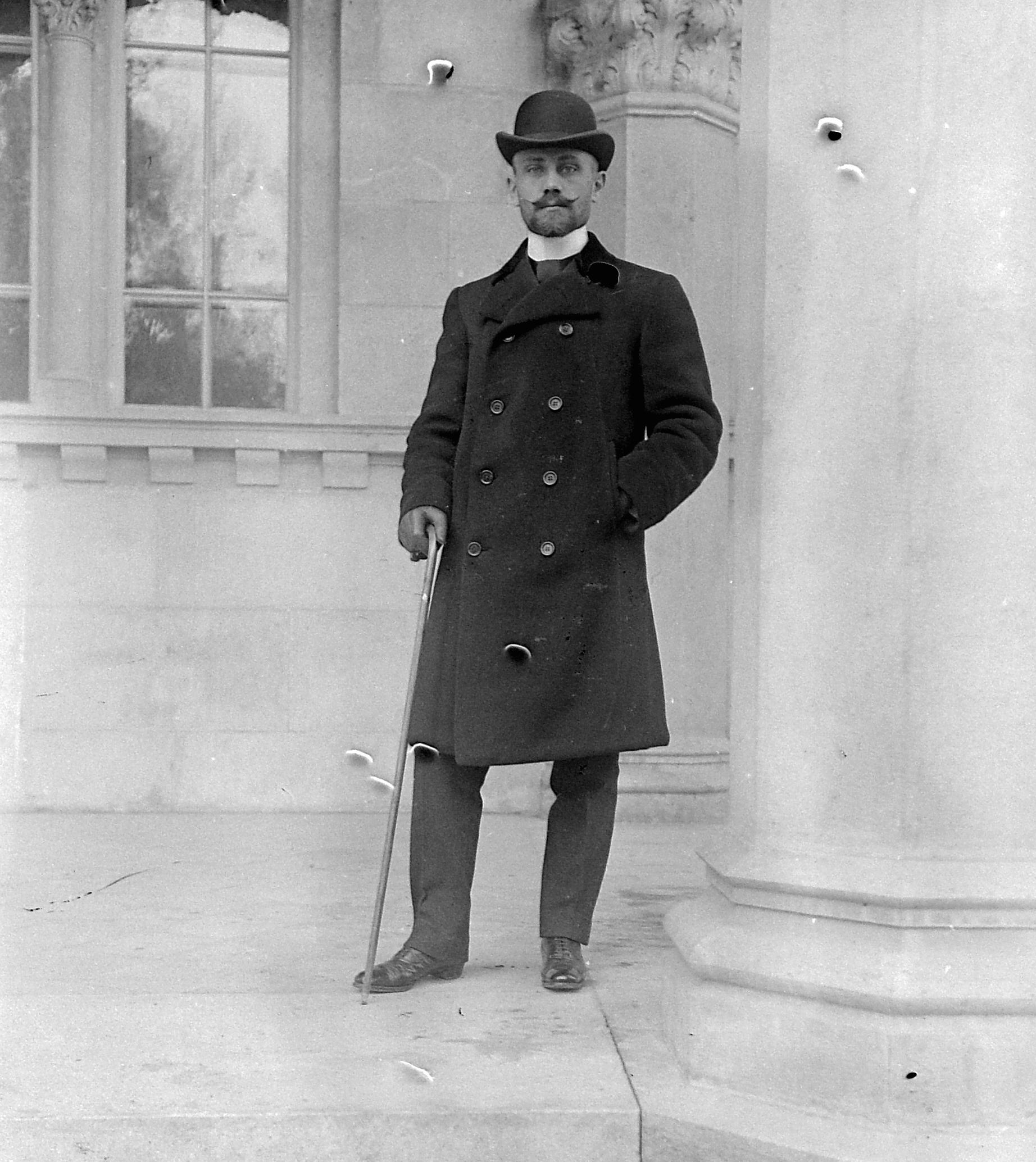 filebowler hat man fashion walking cane fortepan 2516