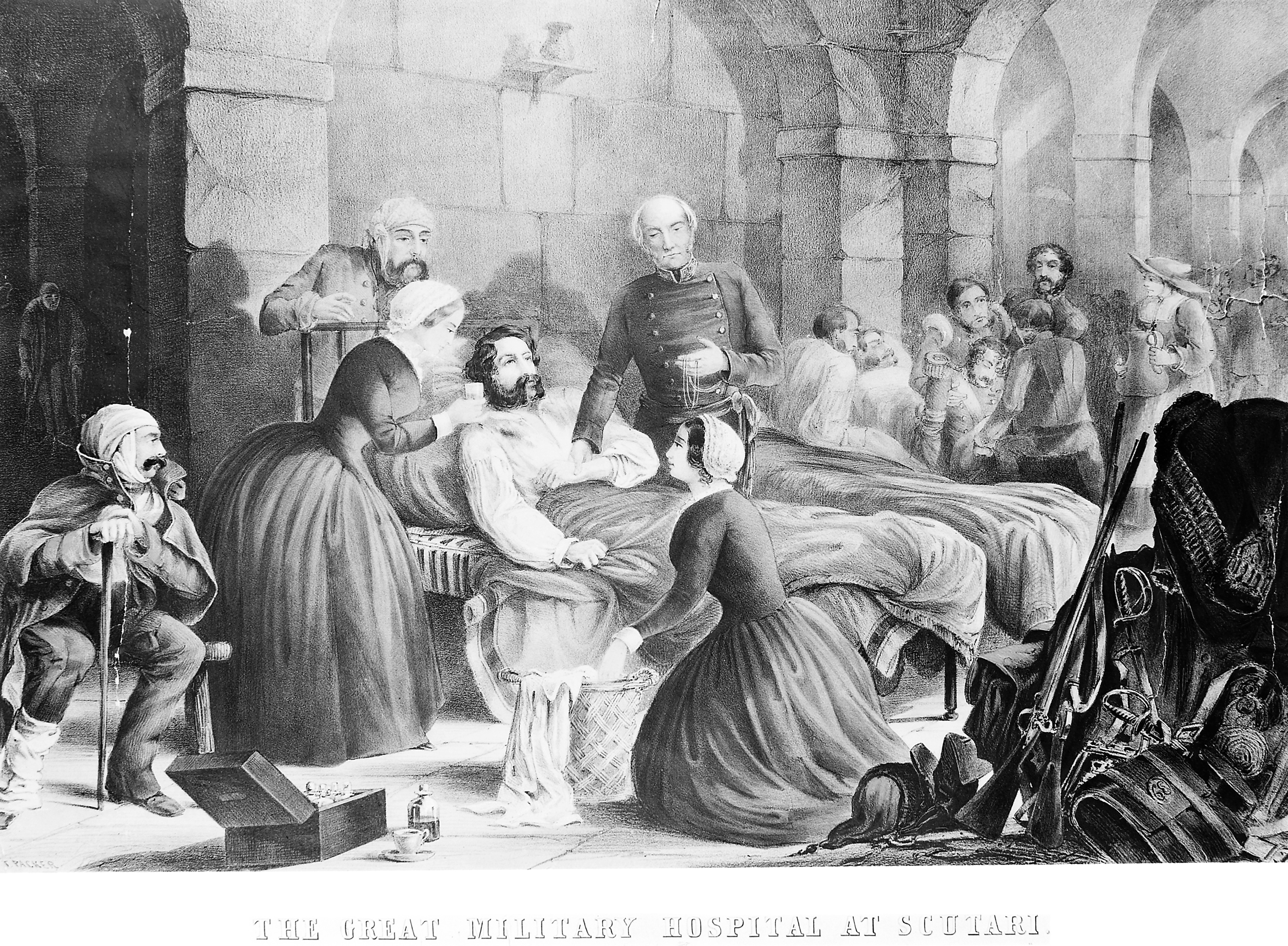 File:Crimean War; Florence Nightingale and her staff nursing a pa ...